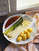 White and Green Asparagus with Potatoes and Tomato Sauce