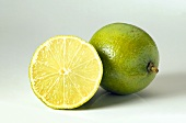 Whole and sliced lime