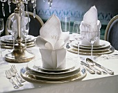 Festive table setting for one menu