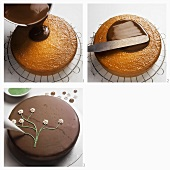 Coating and decorating a chocolate gateau