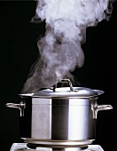A Steaming Stock Pot with the Lid On
