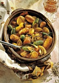 Vegetable and Sausage Stew in a Clay Pot