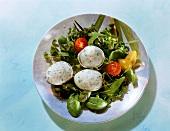 Herb Eggs on Lettuce