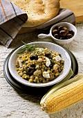 Greek Corn Salad with Olives