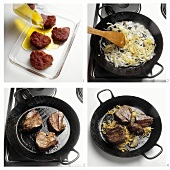 Steak with Onions in a Pan
