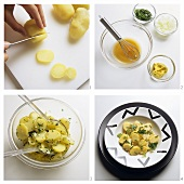 Preparing potato salad with herbs