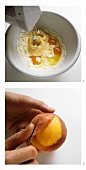 Baking peach gateau