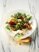 Green Salads with Poached Quail Eggs