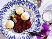 Semolina Dumplings with Cold Cherry Soup