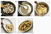 Making rice and oyster mushroom bake