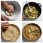 Making wholemeal vegetable goulash pie