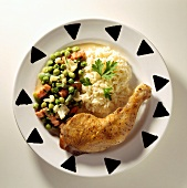 Chicken Leg with Vegetables and Rice