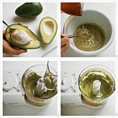 Making cold creamed avocado soup