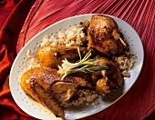 Crispy Duck with Nut Rice