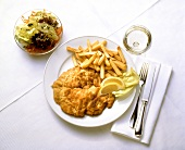 Breaded Veal Cutlet with French Fries & Salad