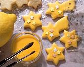 Star-shaped Christmas Cookies with Lemon Glaze