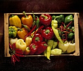 Box with various Kinds of Bell Pepper