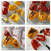Grilling and skinning red and yellow peppers