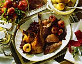 Roast goose in red cabbage and apple