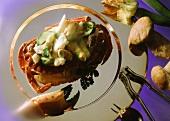Crab with Asparagus-Mushroom Stuffing