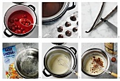 Preparing Black Forest cherry cream