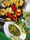 Spring Vegetables with Cress Mint Sauce