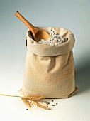 Flour in a Bag with a Wooden Scoop