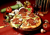 Pizza with salami and mushrooms (USA)