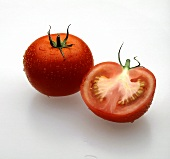 Whole and a Half Tomato; Water Drops