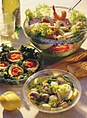 Three elegant salads with vegetables