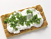 Hard Bread with Chive Soft Cheesse