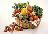 Basket with Fresh Vegetables; Strawberries