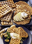 Sweet waffles with nuts and spices