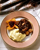 Game Stew with Mashed Potatoes & Pumpkin