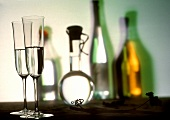 Grappa Still Life in Glasses and Bottle