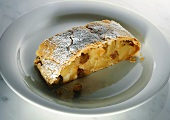 Apple strudel with icing sugar