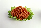 Ground Beef on a Lettuce Leaf