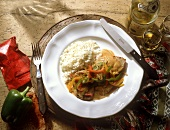 Paprika Escalope with Rice