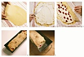 Baking quark cherry strudel