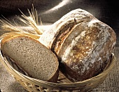 Basket with Wheat Bread Loaves