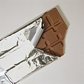 Bar of chocolate with a piece broken off