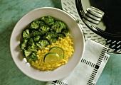 Broccoli with saffron rice