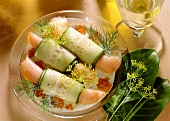 Salmon-Cucumber Rolls on Dill Sauce