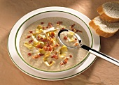 Chicory Cream Soup with diced Bacon