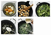 Preparing herb soup with croutons