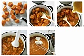 Making creamy pumpkin soup