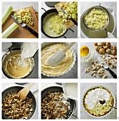 Preparing leek flan with creamed mushrooms
