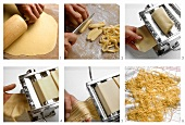 Rolling out and cutting pasta dough