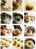 Making ravioli alla genovese (Italy)