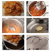 Steps in preparation of carrots for cooking